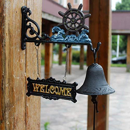 Riyyow Timón de Hierro Fundido artesanía Estilo mediterráneo Hierro Forjado timberbell jardín jardín decoración Delantero Puerta Delantero 27x25cm