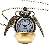 Lovelegis Collana da Uomo e Donna - Orologio da Tasca - Boccino d'oro - Pocket Watch - Steampunk - Ali di Angelo - Colore Bronzo