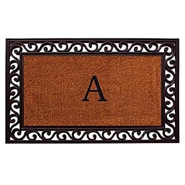 Home & More 100061830A Rembrandt Doormat, 18  x 30  x 1 , Monogrammed Letter A, Natural/Black