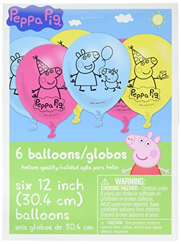 amscan Latex Balloons | Peppa Pig Collection | Party Accessory,Multi Color,12'