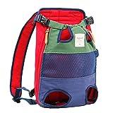 Mochila de red infrarroja para mascotas, bolsa de transporte de hombro para mascotas, con patas suaves hacia afuera para perros y gatos (rojo y azul)