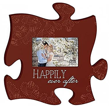 Happily Ever After Red 12 x 12 Wall Hanging Wood Puzzle Piece Photo Frame