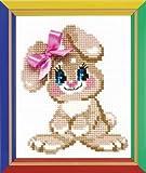 Happy Bee RIOLIS - Conjunto para Punto de Cruz contado (Incluye Tela Aida de 10 Agujeros/cm, Aguja, Patrones, Instrucciones y ovillos de Lana y acrílico) diseño de conejita