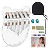 Kalimba Thumb Piano 17 Key Cartoon Shaped Transparent Crystal Acrylic Mbira, Portable Finger Piano with EVA Case Tuning Hammer and Study Instruction,Entry Instrument for Kids, Adults and Beginners.