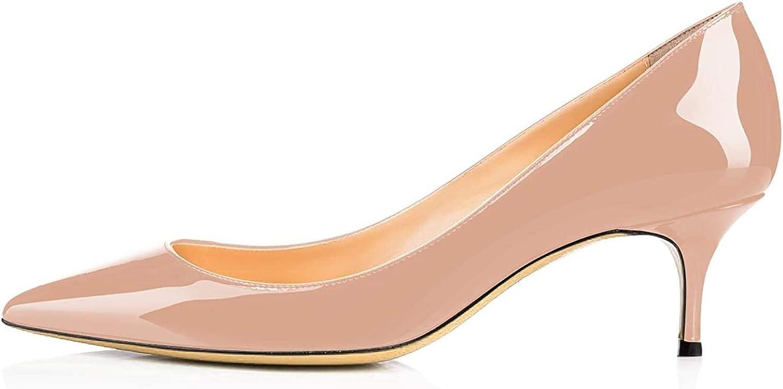ATAX Women's Low Kitten Heel Pumps On Milwaukee Mall Slip Toe Mid Popular standard Pointed