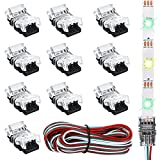 Fmlkic Kit de Conector de luz de Tira LED, 11 Piezas Conectores de Tira de LED Ajustable de 3 Pines 10 mm Conectores de Tira de Luces LED Terminal de Conector de Tira de LED