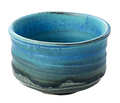 Yamakiikai Pottery Japanische Matcha Teeschale Minoyaki Keramik Ware - türkisches Blau - Schüssel aus Japan Y1702 L1402
