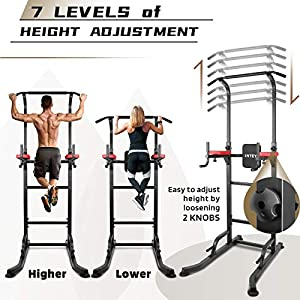 INTEY Power Tower Workout Dip Station Pull Up Bar for Home Gym Strength Training Fitness Equipment 2020 Newer Version