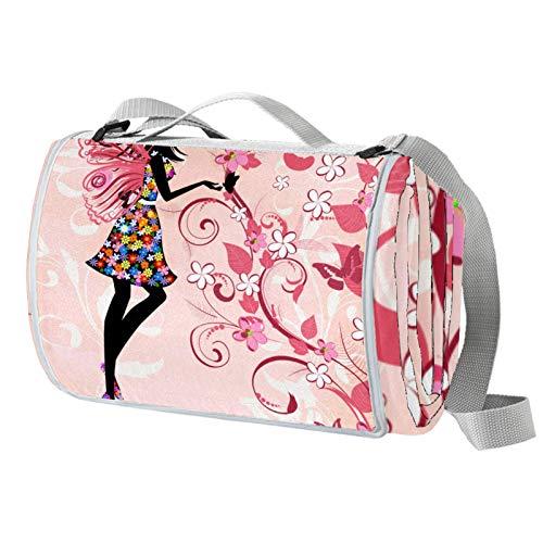 Vito546rton Wasserdichte tragbare Picknickdecke mit rosa Fee Schmetterling Mädchen Blume Druck Picknickdecke Matte mit Gurt für Camping Wandern Gras Reisen 140 x 150 cm
