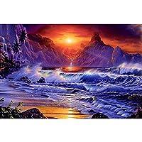 シーサイドDIY5Dダイヤモンド塗装フルラウンドドリルキット画像家の壁の装飾20x30cm