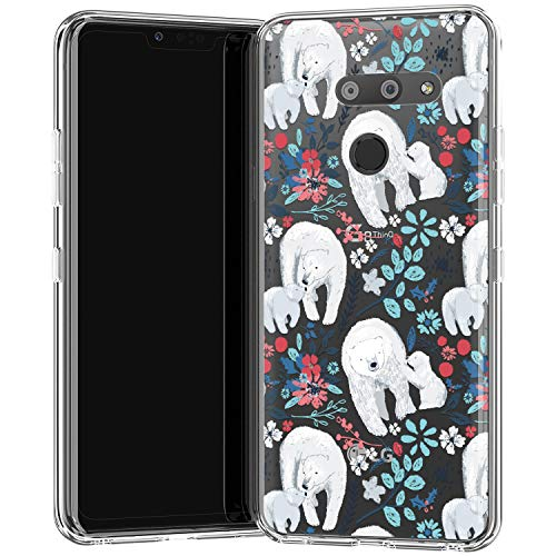 Clear Case Compatible for LG Stylo 6 K40 K50 K10 K30 K20 K61 Q70 Stylo 5 K62 White Polar Bear Smooth Soft Lightweight Slim fit Print Design Silicone Clear Animal Floral Branches Bloom Berries f132