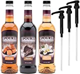 Upouria Coffee Syrup Variety Pack - French Vanilla, Mocha, and Caramel Flavoring, 100% Gluten Free,...