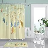 NNKI Cortina de baño textil con atrapasueños, multicolor, cortina de ducha, hojas verdes, flores,...