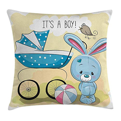 Funda de Almohada para revelar el género, Lindo Cochecito de bebé con Conejito y diseño de Ball It 's Boy Message para niños, 18 x 18 Pulgadas, Verde Aguacate y Azul