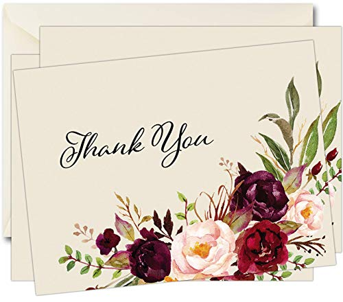 Funeral Sympathy Bereavement Thank You Cards With Envelopes (50, Rose)