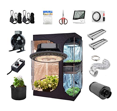 BestMart 60''x48''x80'' 2 in 1 Grow Tent Room Kit+300W UFO LED Full Spectrum Professional Grow Light+Inline Fan Air Carbon Filter Ventilation System Indoor Plan t Grow Tent Complete Kit