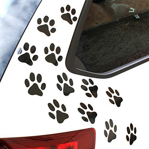 Finest Folia 12er Set Hundepfoten je 6x6 cm Pfoten Pfötchen Hund Katze Aufkleber Sticker für Auto Motorrad Wand Laptop Möbel (K015 Schwarz Glanz)