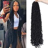 Soft New Faux Locs 36inch 6packs Super Long Goddess Locs Crochet Hair Natural Pre Looped Natural Crochet Braid Curly Wave Braiding Hair(36inch #1b 6packs)