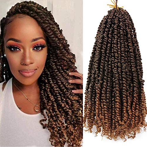 8 Packs Pre-twisted Passion Twist Hair for Crochet 18 Inch Pre-looped Passion Twists Crochet Hair Extension Pretwisted Synthetic Crochet Braids (12Strands/Pack, T30#)