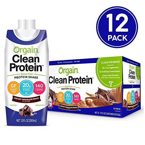 Orgain Grass Fed Clean Protein Shake, Creamy Chocolate Fudge - Great for Meal Replacement, Ready to Drink, Gluten Free, Soy Free, Kosher, Non-GMO, 11 Ounce, 12 Count