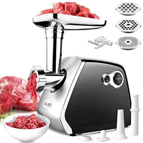 Electric Meat Grinder, 3-IN-1 Multifunction Meat Mincer & Sausage Stuffer, Household Food Grinding Mincing【Max 2000W Motor】With 3 Grinding Plates and Sausage & Kubbe Kit for Home Kitchen Heavy Duty