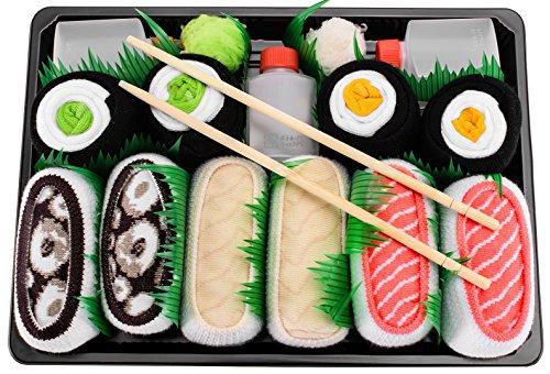 Rainbow Socks Sushi Socks Box Tamago Butterfish Tuna Maki Mens Womens 5 Pairs