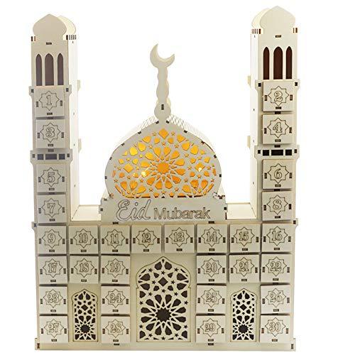 Baoer Ramadan-Countdown-Kalender aus Holz, zum Basteln, Anhänger Eid Mubarak Zubehör Eid Mubarak