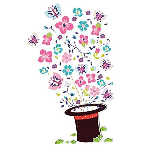 Winhappyhome Magic Hat Butterflies Muraux Stickers pour Chambre à Coucher Salon Garderie Café-restaurante Removable Art Décalcomanies