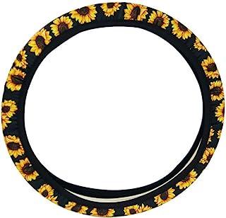 AJLTPA Sunflower Steering Wheel Cover Neoprene Car Steering Wheel Cover Anti Slip and Sweat Absorption Auto Car Wrap Cover (Sunflower)