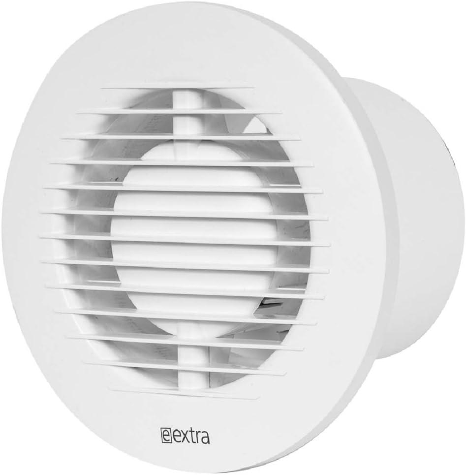 Ventilador de baño (diámetro de 100 mm, con sensor de humedad y temporizador, redondo, silencioso, color blanco)