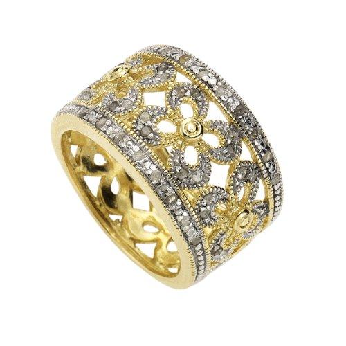 Diamonds by Ellen K. 379270069-021 - Anillo de Mujer de Plata de Ley con 40 Diamantes...