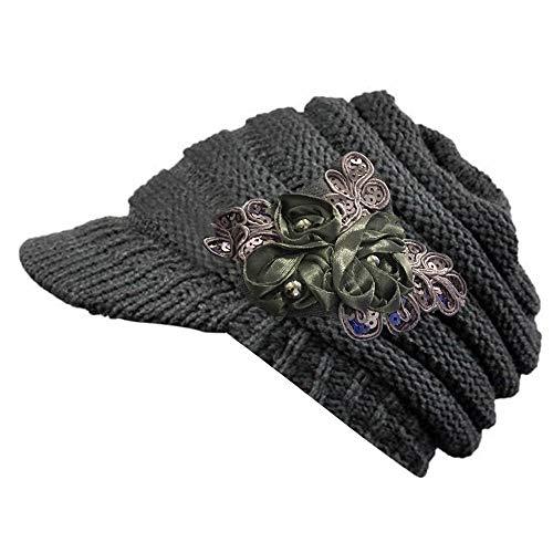 OWEGAI-80 Hat 2016 Korean Version of The and Winter Ladies hat Brim Sequin Applique Gray