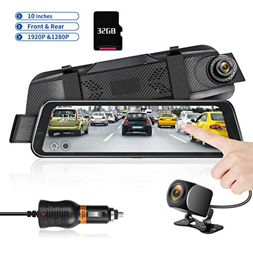 Mirror Dash Cam 9.66' HD Backup Camera, Dash Cam Front and Rear Dual Lens 1920P+1280P Full Touch Screen Video Streaming Rear View Mirror Camera with Waterproof, 32G TF Card Included