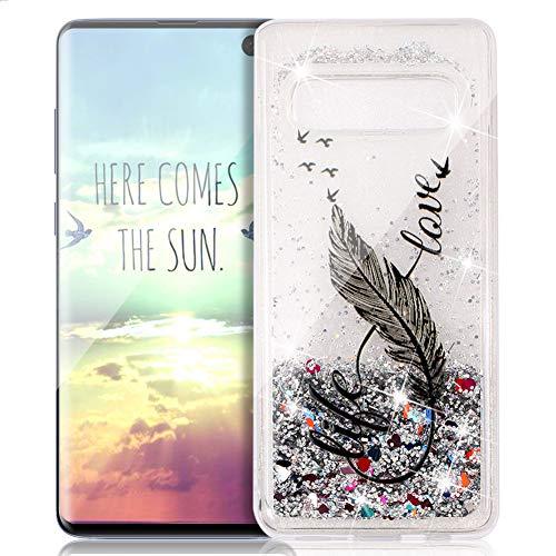 FNBK Funda compatible con Samsung Galaxy S10 Plus, funda con purpurina, funda para teléfono móvil, lujosa, suave, TPU, carcasa de silicona, diseño de flores, Schwarz 8 Wörter