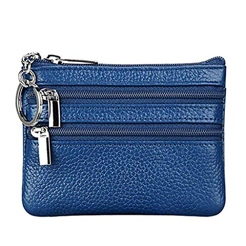 Portamonete Piccolo in Vera Pelle Mini Portafoglio con Cerniera Portachiavi per Donna (Blu)