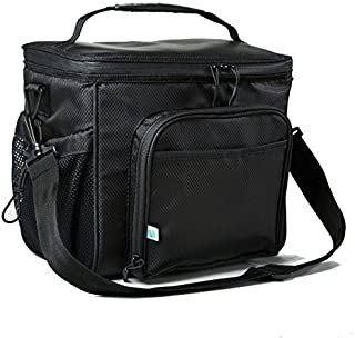 Fit & Fresh Insulated Large Soft Cooler Lunch Bag, 18 Can Capacity - Adjustable Shoulder Strap, Zipper Closure, Leakproof Lining (Black)