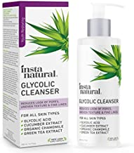 Glycolic Facial Cleanser - Wrinkle, Fine Line, Age Spot, Acne & Hyperpigmentation Exfoliating Face Wash - Clear Skin & Pores - Glycolic Acid, Organic Extract Blend & Arginine - InstaNatural - 6.7 oz