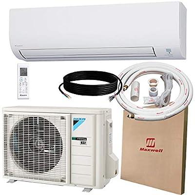 DAIKIN 12,000 BTU 19 SEER Wall-Mounted Ductless Mini-Split A/C Heat Pump System Maxwell 15-ft Installation Kit (230V) 12 Year Limited Warranty (12,000 BTU_208-230V)