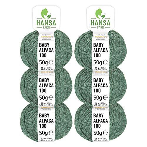 100% Baby Alpakawolle in 50+ Farben (kratzfrei) - 300g Set (6 x 50g) - weiche Alpaka Wolle zum Stricken & Häkeln in 6 Garnstärken by Hansa-Farm - Smaragd Heather (Grün)