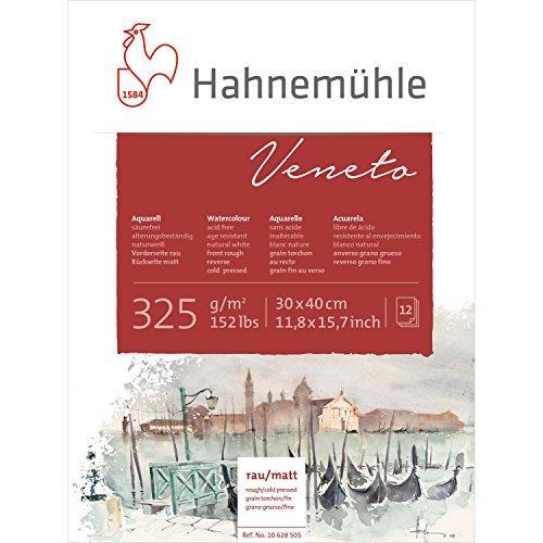Hahnemuhle: Veneto Block de 12 Hojas Para acuarelas, 325g/m2 (150lb) 30x40cm doble textura rugoso una carilla y la otra mate