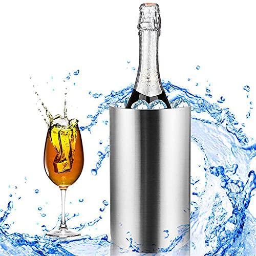 JIAGOA Enfriador De Vino Barril Acero Inoxidable Doble Pared Estante para Botellas De Vino Cerveza Champán Enfriador Cubo De Hielo Barra Herramienta De Contador