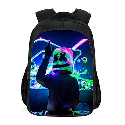 Student Bagpack, Marshmallow Leichte Multifunktions-Rucksack Festung Nacht Schultasche Dj, 3D Gedruckt Casual Wanderruck schwarz5