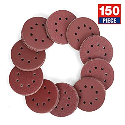 WORKPRO 150-piece Sandpaper Set - 5-Inch 8-Hole Sanding Discs 10 Grades Includ 60, 80, 100, 120, 150,180, 240, 320, 400, 600 Grits for Random Orbital Sander (Not for Oscillating Tools or Mouse Sander)