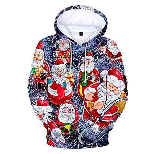 Preisvergleich Produktbild Unisex Kapuzenpullover Herren Weihnachts Langarmshirt Pullover Sweatshirt Weihnachtspullover Funny Weihnachtsmotiv Weihnachten Hoodie Warm Herbst und Winter Kapuzenjacke