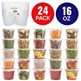 Healthy Packers Extra Thick Food Storage Containers with Lids (16oz - 24 Pack) - Great for Slime -...