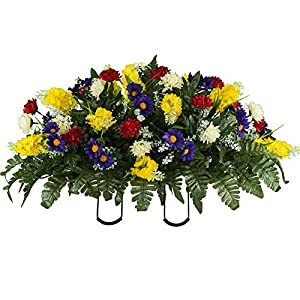 Sympathy Silks Artificial Cemetery Flowers – Realistic Wildflower Outdoor Grave Decorations – Yellow Red Wildflower Saddle for Headstone
