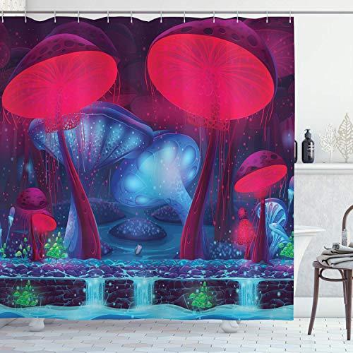 Amknu Pilz-Duschvorhang, magische Pilze mit vibrierendem Neon-Design Grafikbild Verzauberter Wald-Themendruck, Stoff-Stoff-Badezimmer-Dekor-Set mit, Blau-Rot mit 12 Kunststoffhaken 180x210cm