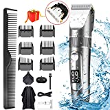 POLENTAT Professional Hair Clippers and Trimmer for Men - LED Display, IPX7 Waterproof, Cordless - With Replaceable Ceramic Blade Heads & Storage Bag (15 pieces)