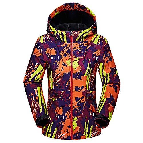 XFentech Femmes Encapuchonné Softshell - Imperméable Randonnée De Plein air Camouflage Homme Veste de Ski Manteau,style1-femmes,EU XL=Tag 2XL