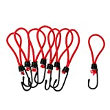 CUTICATE 8 Pack Shock Bungee Cords with Hook for Canopy Awning Tarp Eyelet Connector Buckle, 6inch Elastic Strechy Rope Tie Down Strap - Red